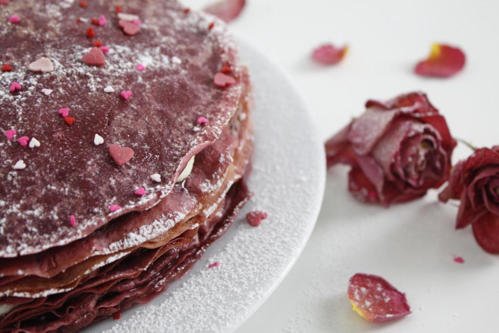 Pink velvet crepe cake