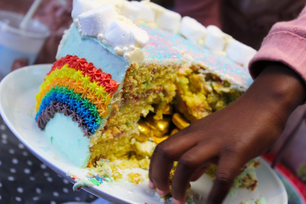 Rainbow cake with a hidden treasure delliedelicious kids birthday party