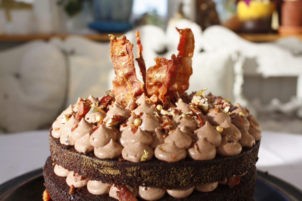 chocolate and stout cake with crispy bacon